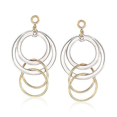 14kt Yellow Gold and Sterling Silver Circle Drop Earring Jackets - Skyjewelry