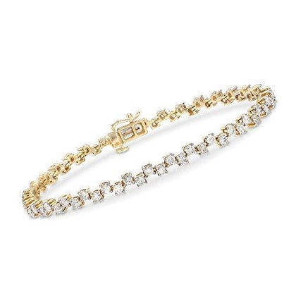 3.50 ct. t.w. Alternating Diamond Bracelet in 14kt Yellow Gold. 8 inches - Skyjewelry
