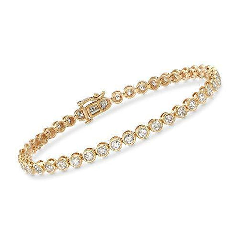 3.45 ct. t.w. Bezel-Set Diamond Tennis Bracelet in 14kt Yellow Gold - Skyjewelry