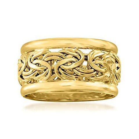 18kt Yellow Gold Wide Byzantine Ring - Skyjewelry