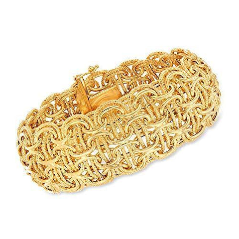 Italian 18kt Yellow Gold Modified Byzantine-Link Bracelet - Skyjewelry
