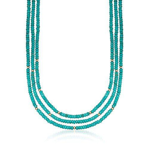 Turquoise Bead 3-Strand Necklace With 14kt Yellow Gold - Skyjewelry