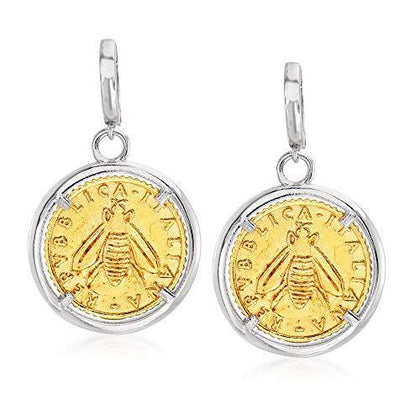 Italian Replica Lira Bee Coin Drop Earrings in Sterling Silver and 18kt Gold Over Sterling - Skyjewelry