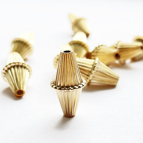 14K Gold-filled Corrugated Large Bicone Beads