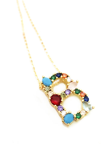 Gem Color CZ Initial Necklace