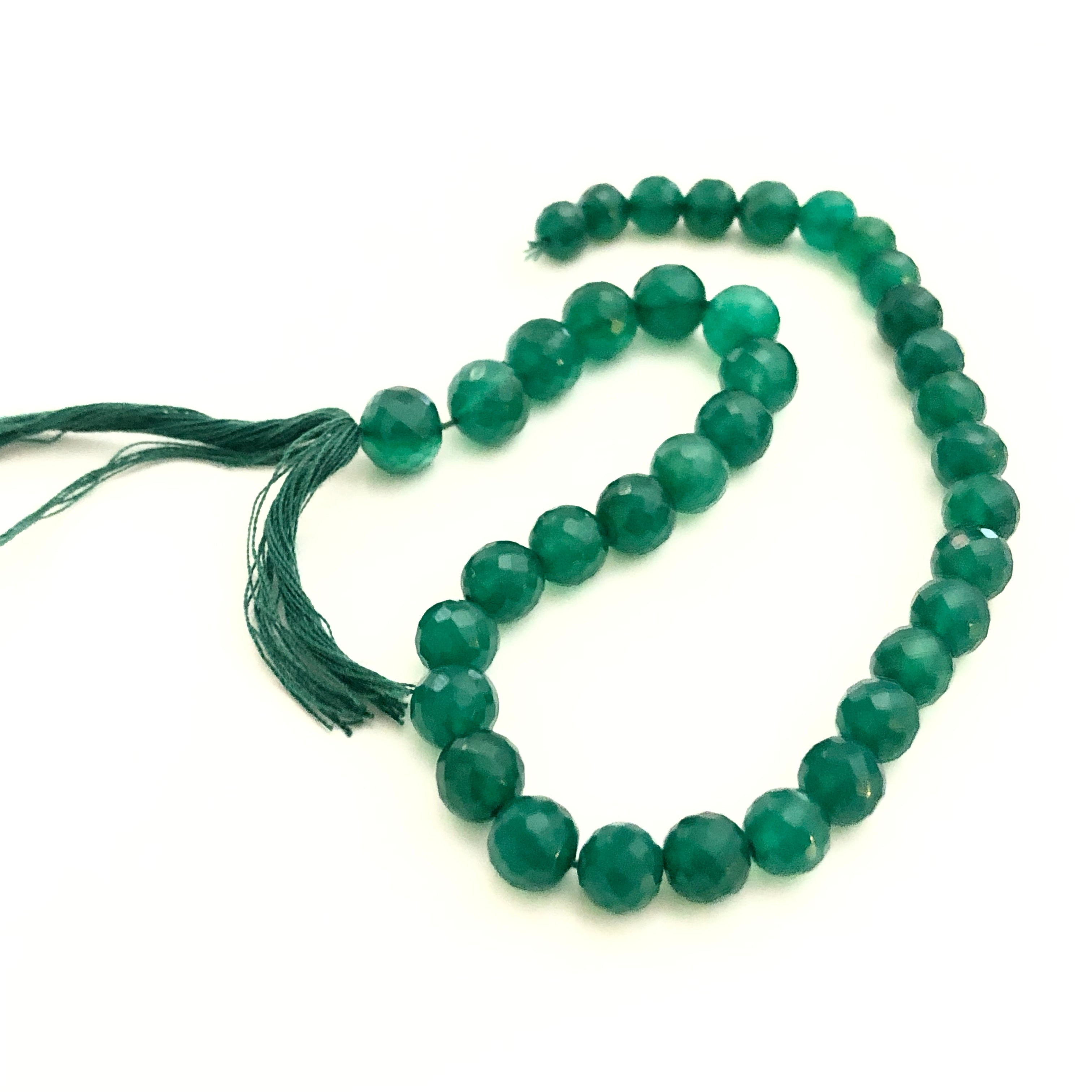 Green Onyx Faceted Beads- Full Strand