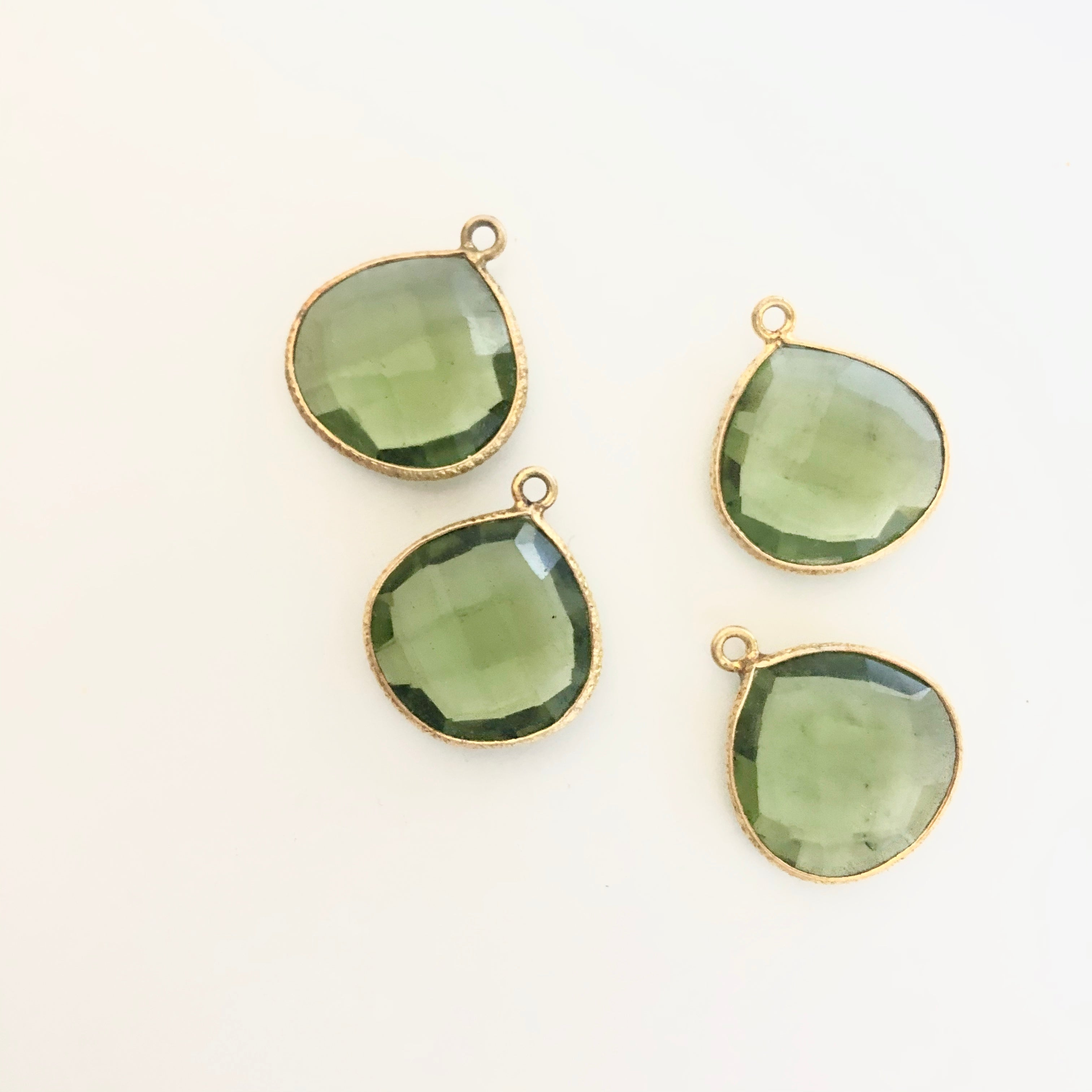Gemstone Teardrop Charms with Gold plated edge