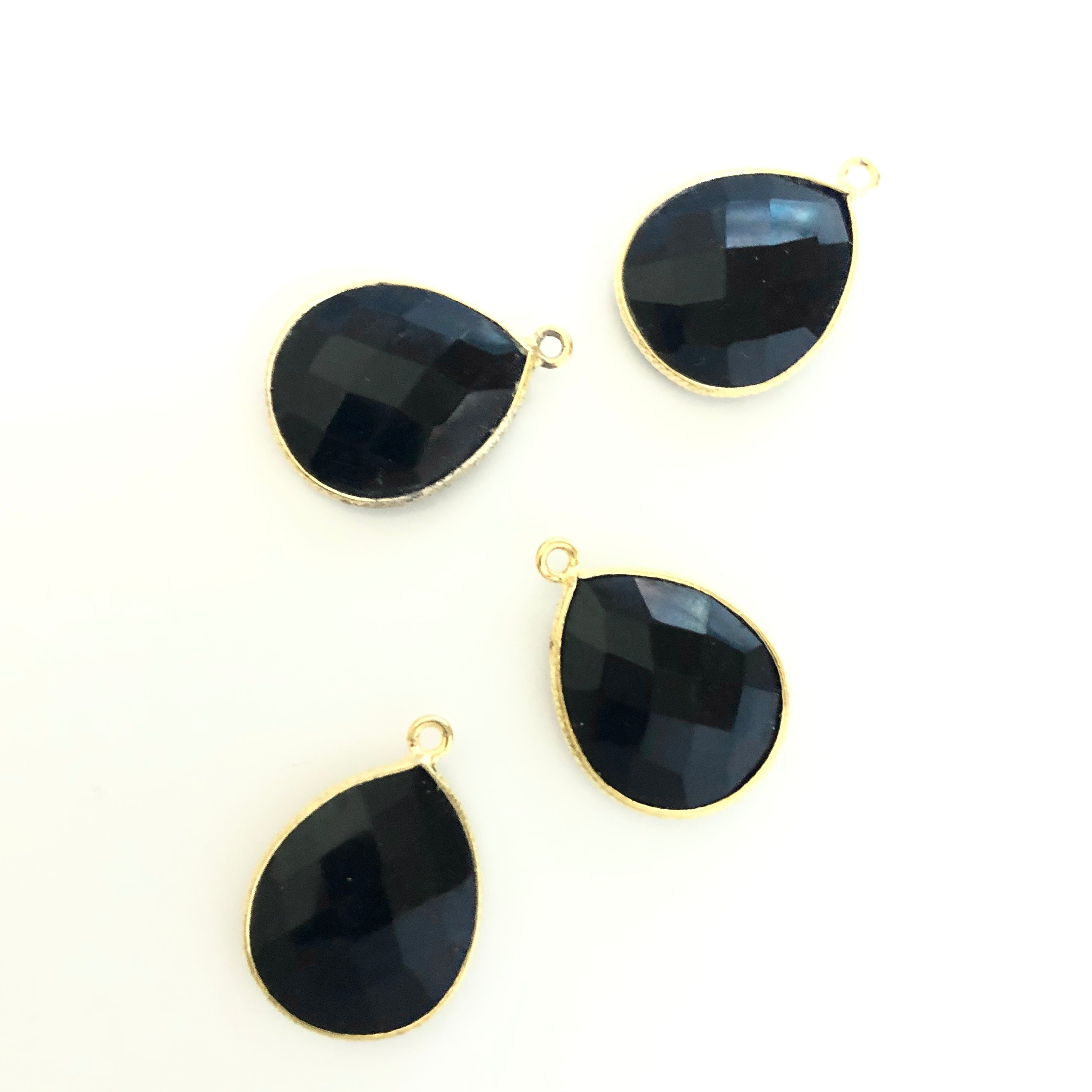 Black Gemstone Teardrop bezeled Charms with Gold plated edge
