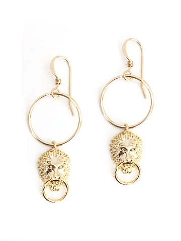 Lion Head Hoop Earrings
