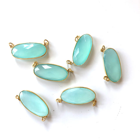 6 Pieces - Gold Plated over Silver Bezel Pendants Aqua Chalcedony Oval