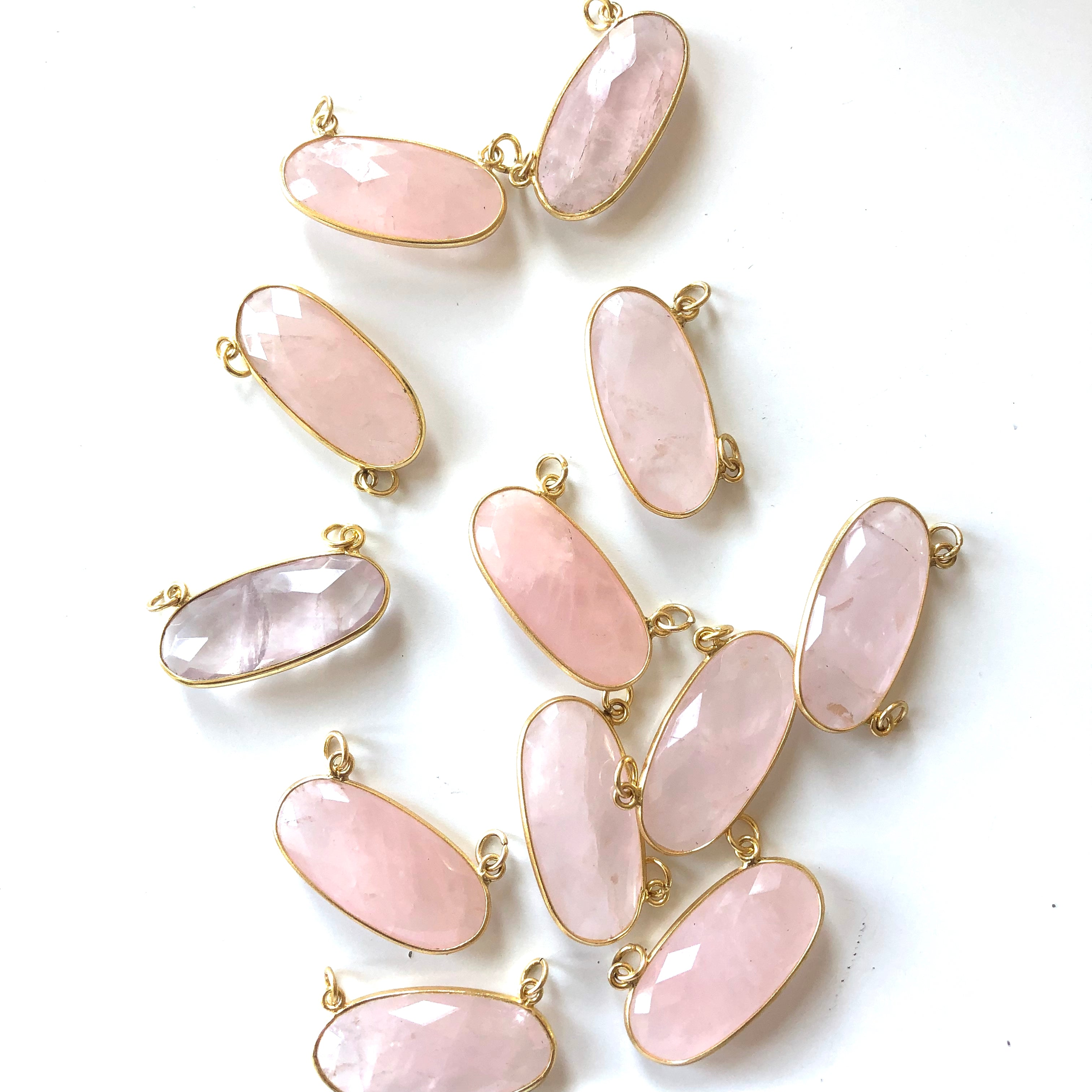 6 Pieces - Gold Plated over Silver Bezel Pendants Rose Quartz Oval