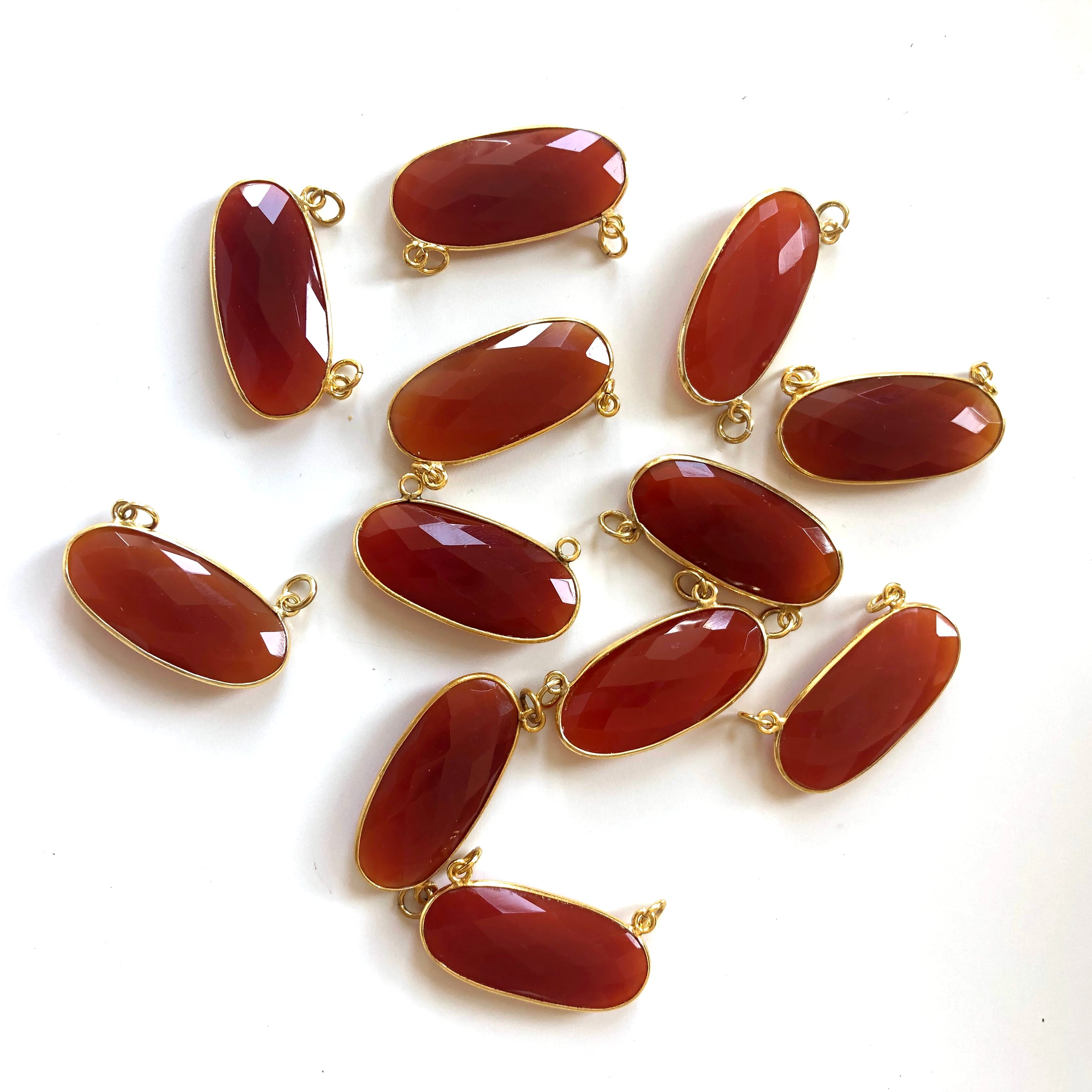 6 Pieces - Gold Plated over Silver Bezel Pendants Red Carnelian Oval