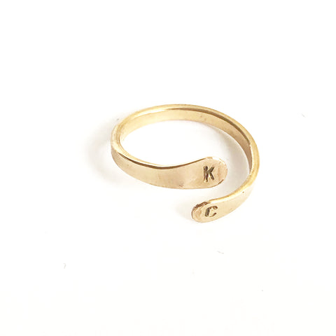 Double Initial Ring- K & C - Friday Flash Sale