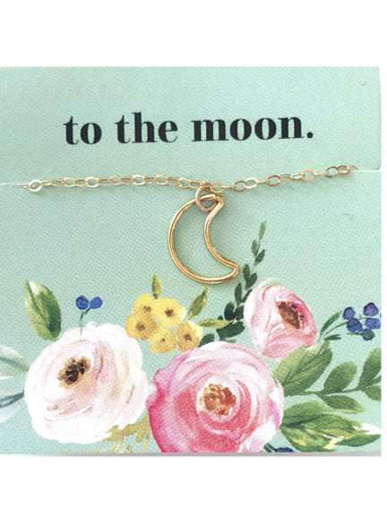 Gold Moon Outline Necklace- LLS