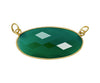 6 Pieces - Gold Plated over Silver Bezel Pendants Green Onyx Oval