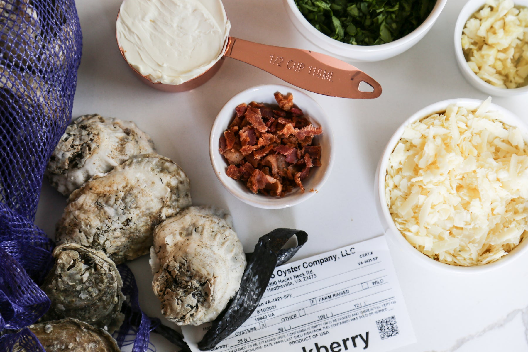 Cheesy Baked Oyster Ingredients