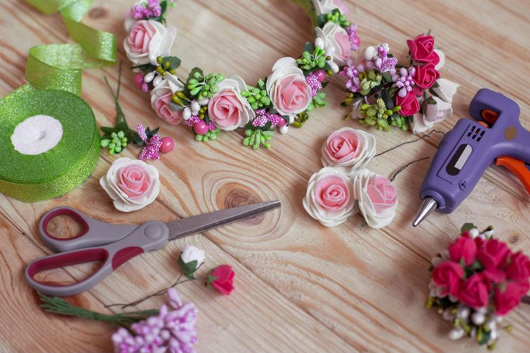 Roses and flower buds for Spring-inspired DIY wreath making