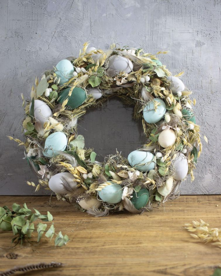 DIY Easter wreath made from willow and pastel eggs