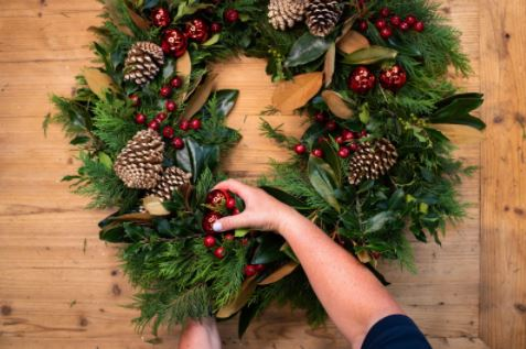 wreath being made