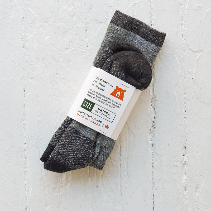 NSTP Merino Wool Trail Socks - Black/Grey