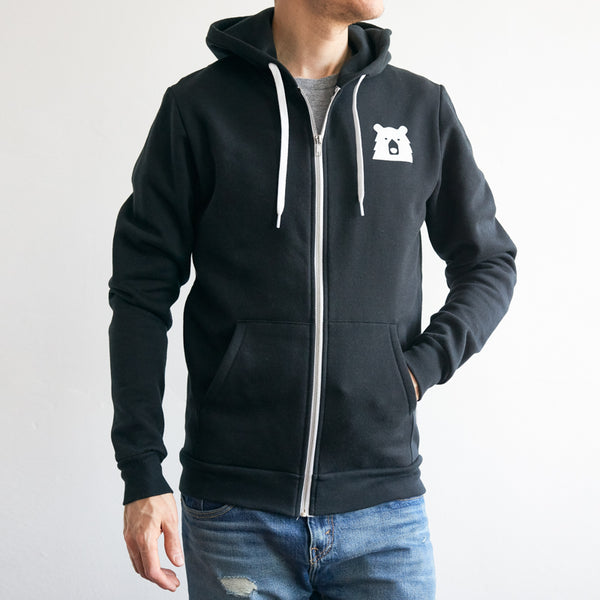 NSTP Mascot Zip Up Hoodie - Black with White