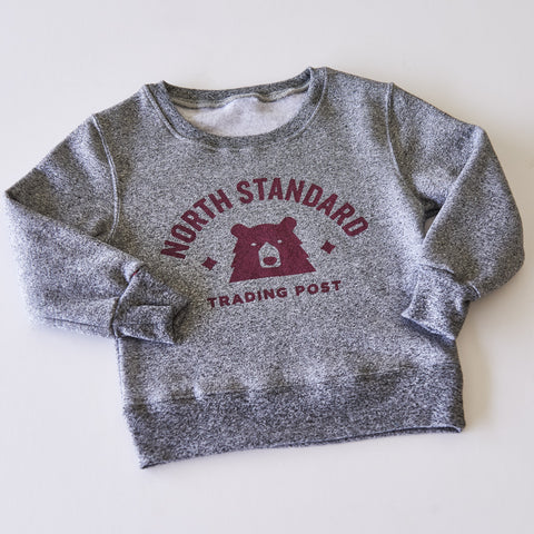 NSTP Kids Primary Crew Sweat - Speckled Grey with Maroon