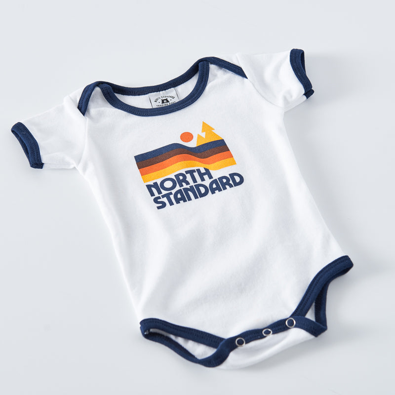 NSTP Baby Happy Trails Ringer Onesie - White/Navy