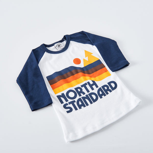 NSTP Kids Happy Trails Baseball Tee - White/Navy