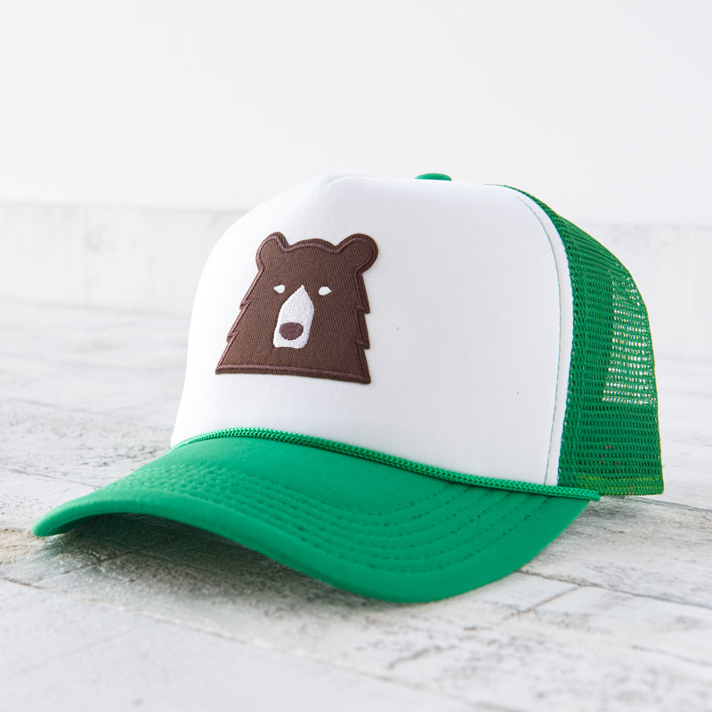 NSTP Mesh Foam Hat - Kelly/White with Brown Bear