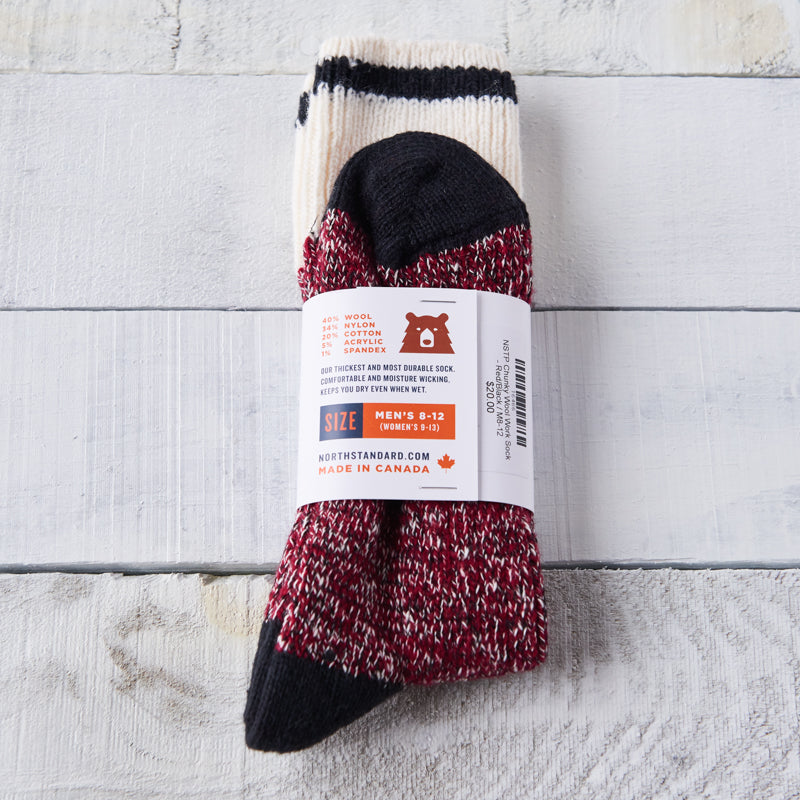 NSTP Chunky Wool Work Sock - Red with Black Stripe
