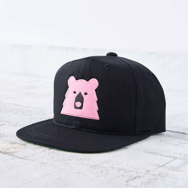 NSTP Youth Snapback - Black with Pink Bear