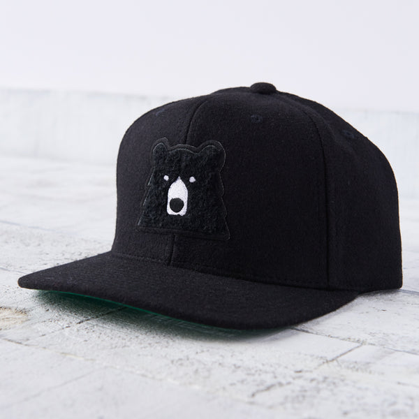 NSTP Melton Snapback - Black with Black Chenille Bear
