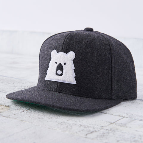 NSTP Melton Snapback - Charcoal with Polar Chenille Bear