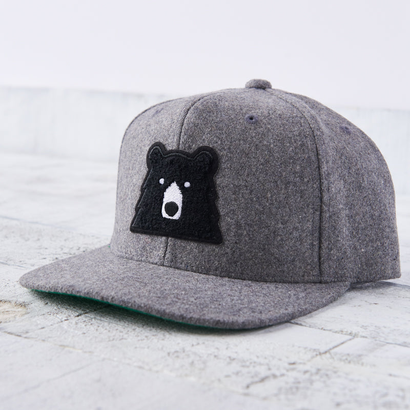 NSTP Melton Snapback - Heather with Black Chenille Bear
