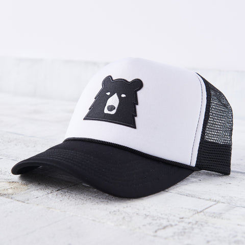 NSTP Mesh Foam Hat - Black/White with Black Bear
