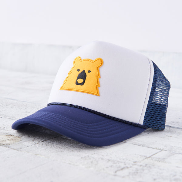 NSTP Mesh Foam Hat - Navy/White with Golden Yellow Bear