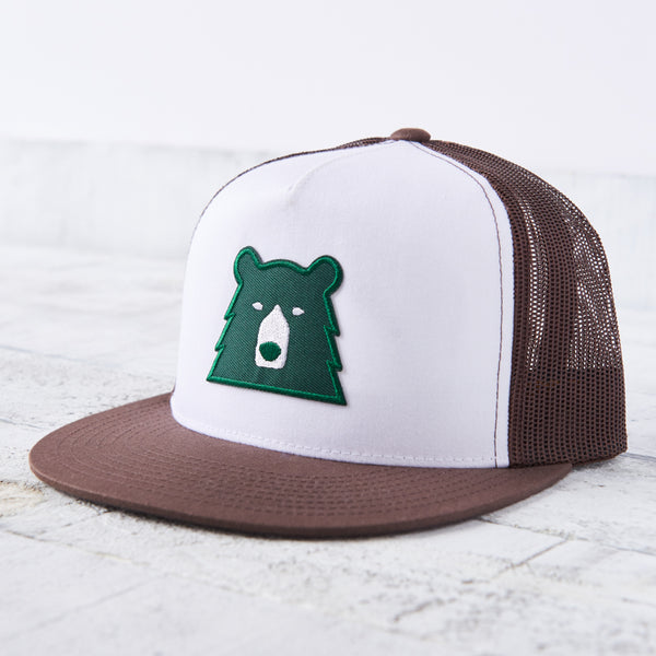 NSTP Mesh Poplin Hat - Brown/White with Spruce Bear
