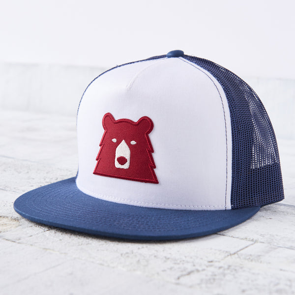 NSTP Mesh Poplin Hat - Navy/White with Red Bear