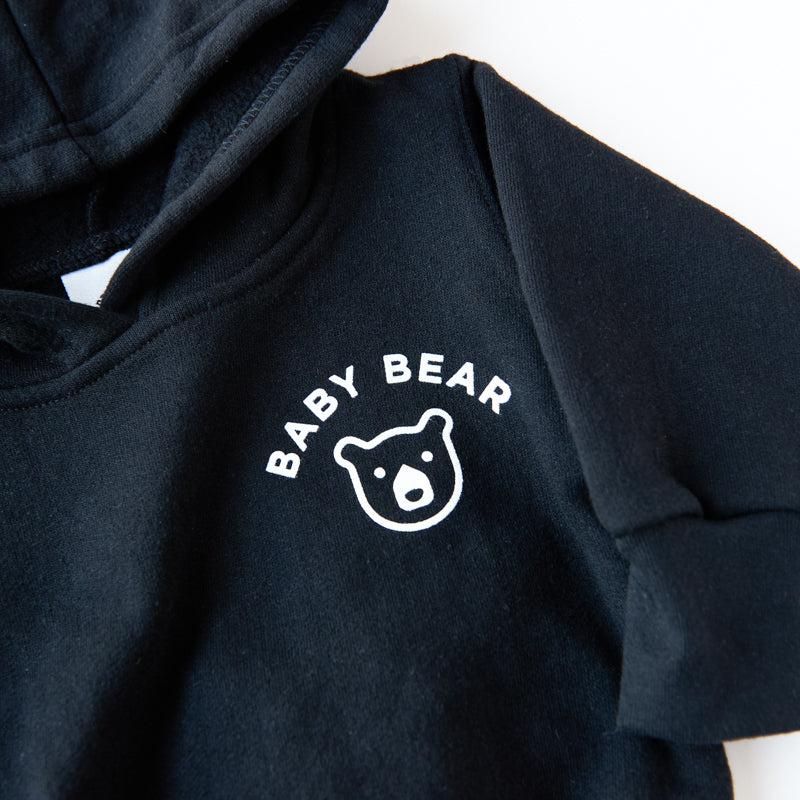 NSTP Baby Bear Pop Over Hoodie - Black with White