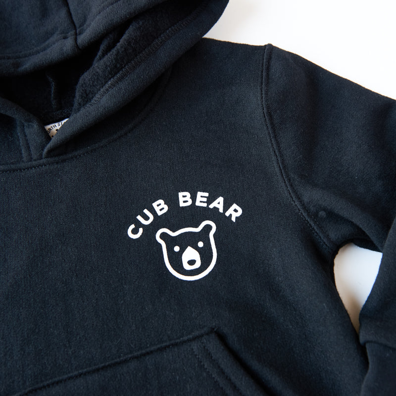 NSTP Kids Cub Bear Pop Over Hoodie - Black with White