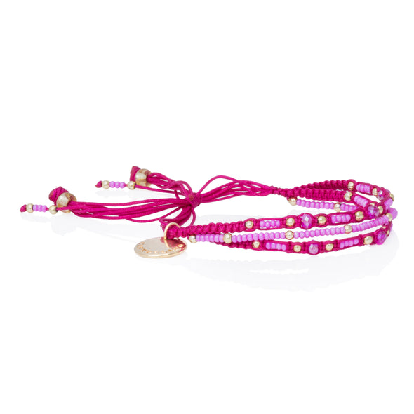 Love Yourself - Beaded Bracelet - PINK