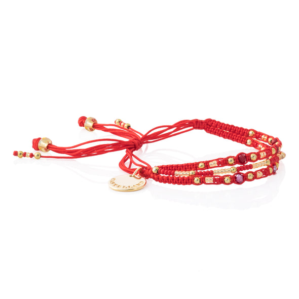 Love Yourself - Beaded Bracelet - RED