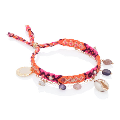 Free spirit and Seashelll Bracelets Orange
