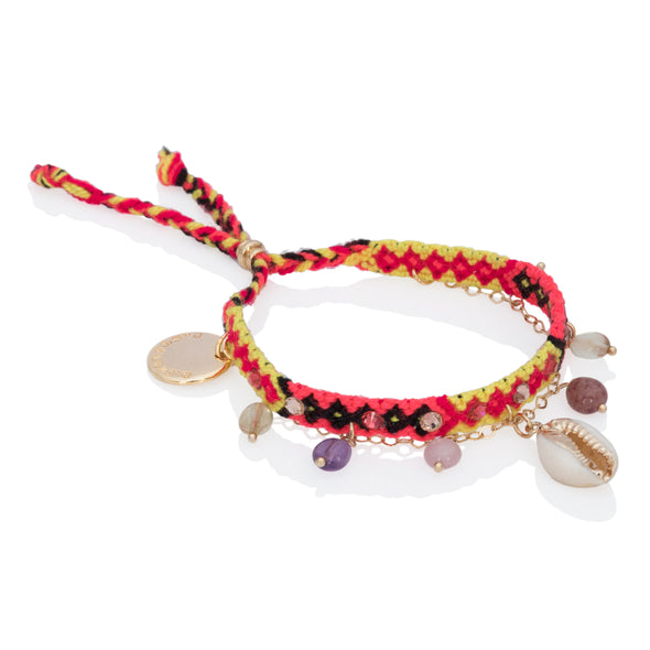 Free spirit and Seashelll Bracelets Yellow Pink