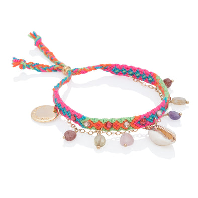 Free spirit and Seashelll Bracelets Green Pink
