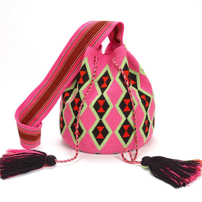 A'lapüjaa Large Wayuu Crossbody Bag - Pink