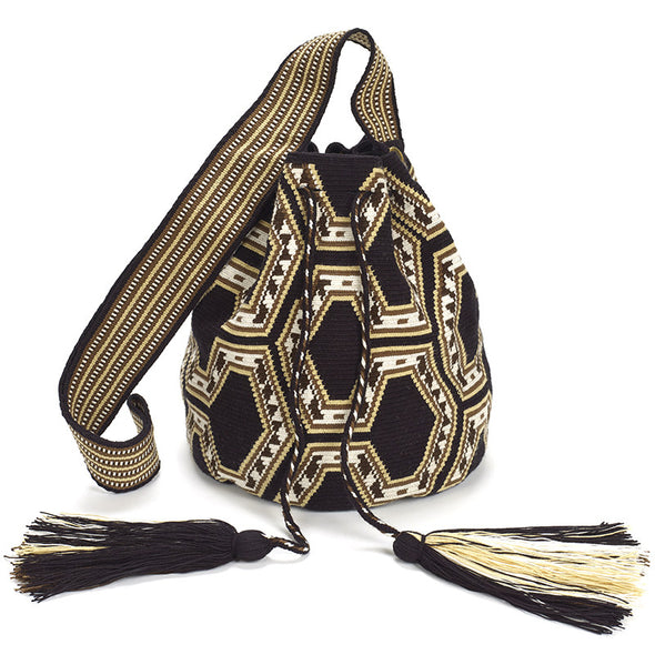 Ishashi Large Wayuu Crossbody Bag - Black