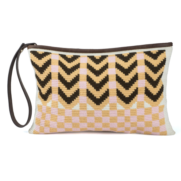 Wayuu Clutch - Kululu brown-baby pink
