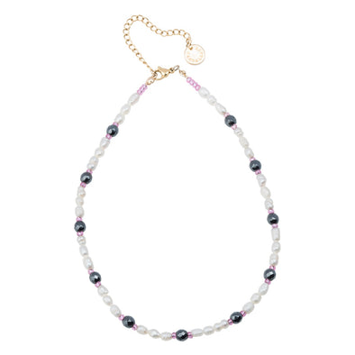 Cultivate pearls and hematite necklace