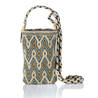 Makki Mini Wayuu Crossbody Bag - Beige/Blue